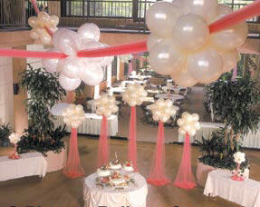 {Pearl White balloons creates a soft color with tulle for dreamy floating balloon clouds}