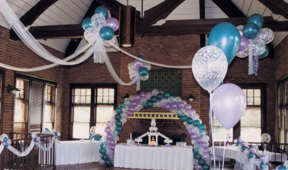 {Dream Clouds create an elegant for the wedding ceremony and dance floor.}