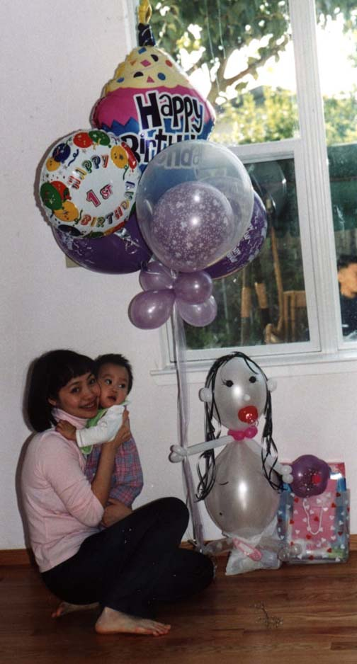 {Tasha's Birthday Party Balloon Bouquet with mom Yen}