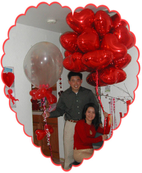 {Trung and Cindy with Giant Heart Balloon for the Valentine Party}